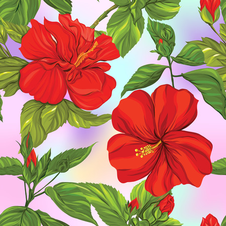 Seamless pattern, background with tropical plants: monstera,  strelitzia,  bougainvillea, Stock Illustratie
