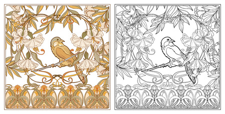 Poster, background with decorative flowers and bird in art nouveau style, vintage, old, retro style. Outline coloring page for the adult coloring book with colored sample Stock vector illustration. Standard-Bild - 110506630