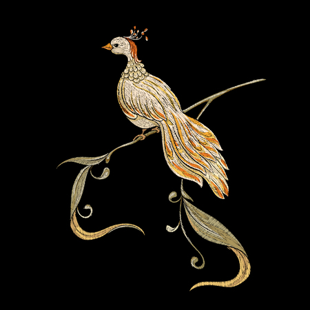 Embroidery with decorative bird In art nouveau style, vintage, old, retro style on black background. Vector illustration.