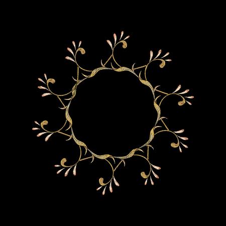 Broderie avec éléments décoratifs floraux Dans le style art nouveau, style vintage, ancien, rétro sur fond noir. Illustration vectorielle.