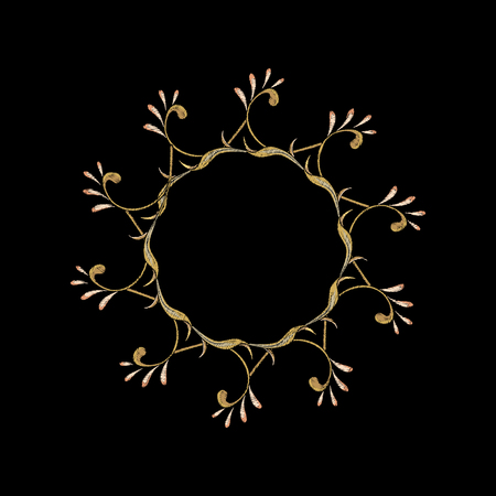Embroidery with floral decorative elements In art nouveau style, vintage, old, retro style on black background. Vector illustration.