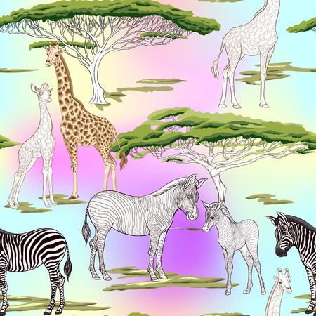 Seamless pattern, background  with adult zebra and giraffe  and zebra and giraffe cubs. Vector illustration. Archivio Fotografico - 108424393