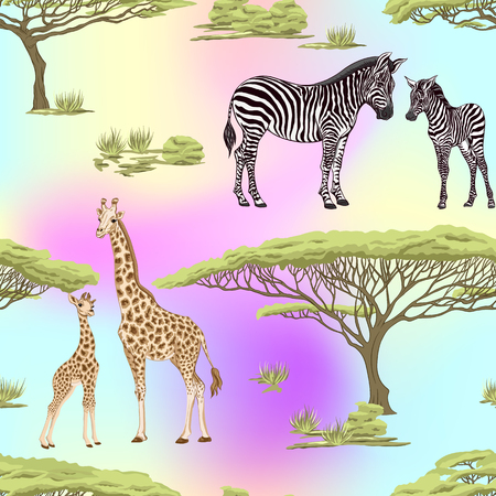 Seamless pattern, background  with adult zebra and giraffe  and zebra and giraffe cubs. Vector illustration. Foto de archivo - 108424394