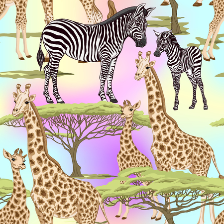 Seamless pattern, background  with adult zebra and giraffe  and zebra and giraffe cubs. Vector illustration. Archivio Fotografico - 108424391