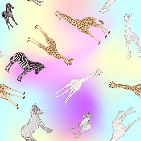 Seamless pattern, background  with adult zebra and giraffe  and zebra and giraffe cubs. Vector illustration. Archivio Fotografico - 108424398