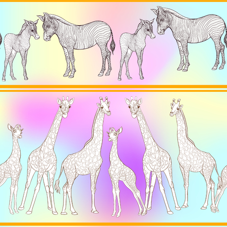 Seamless pattern, background  with adult zebra and giraffe  and zebra and giraffe cubs. Vector illustration. Archivio Fotografico - 108424400
