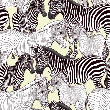 Seamless pattern, background  with adult zebra  and zebra cub. Vector illustration. Фото со стока - 108424403