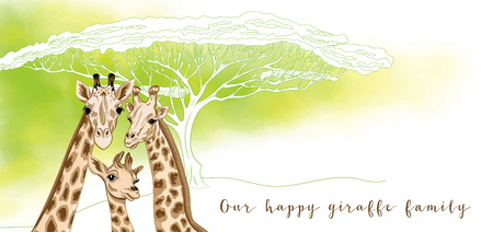 Background with giraffe family. Good for greeting card for birthday, invitation or banner of safari, zoo or family party. Vector Illustration.