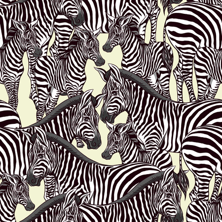 Seamless pattern, background  with adult zebra  and zebra cub.  Realistic drawing, animalism. Vector illustration.  On green background.