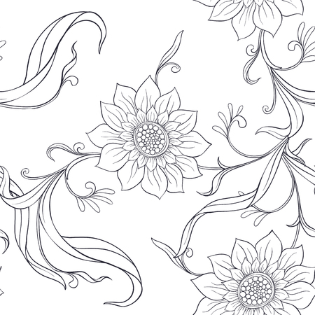 Floral seamless pattern, background  In art nouveau style, Фото со стока - 108424420
