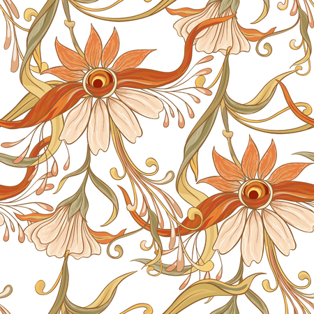 Floral seamless pattern, background  In art nouveau style,