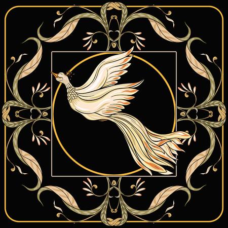 Cartel, fondo con flores y pájaros en estilo art nouveau, estilo vintage, antiguo, retro. Ilustración vectorial de stock. Sobre fondo negro. Ilustración de vector