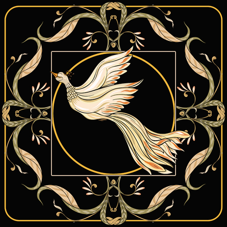 Poster, background with flowers and bird in art nouveau style, vintage, old, retro style. Stock vector illustration. On black background. Illustration
