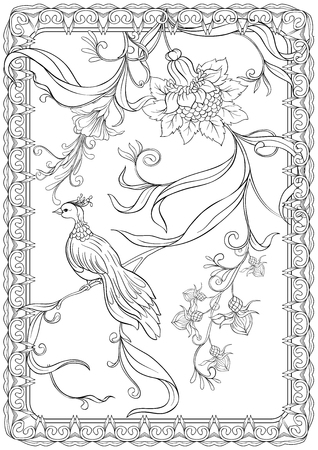 Poster, background with flowers and birds in art nouveau style, vintage, old, retro style. Stock vector illustration. Outline hand drawing. Good for coloring page for the adult coloring book.