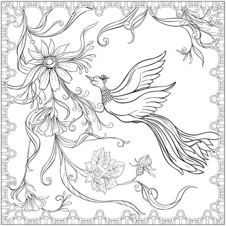 Plakat, Hintergrund mit Blumen und Vögeln im Jugendstil, Weinlese, alt, Retro-Stil. Stock Vektor-Illustration. Handzeichnung skizzieren. Gut zum Ausmalen für das Malbuch für Erwachsene. Vektorgrafik