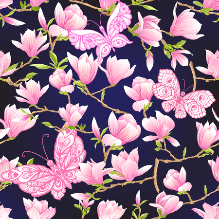 Seamless pattern with  pink magnolia flowers. Vector illustration. Archivio Fotografico - 107701670