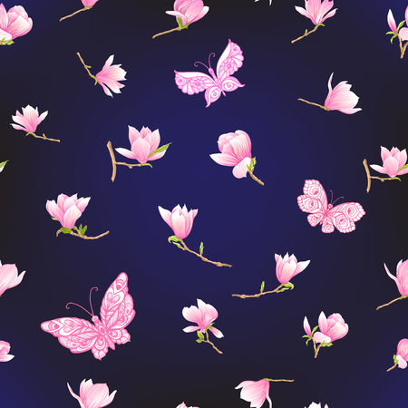 Seamless pattern with  pink magnolia flowers. Vector illustration. Archivio Fotografico - 107701671