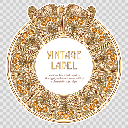 Label for food products or cosmetics in art nouveau style.