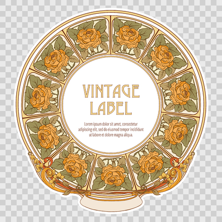 Label for food products or cosmetics in art nouveau style. Vector Illustration