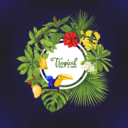 Template of poster, banner, postcard with tropical flowers and plants and bird Zdjęcie Seryjne - 107698757
