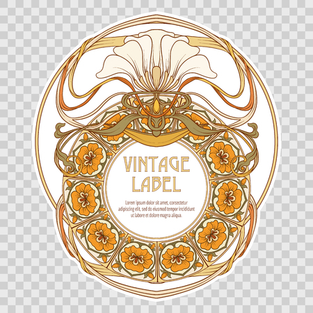 Label for food products or cosmetics in art nouveau style. Illustration