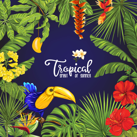 Template of poster, banner, postcard with tropical flowers and plants and bird