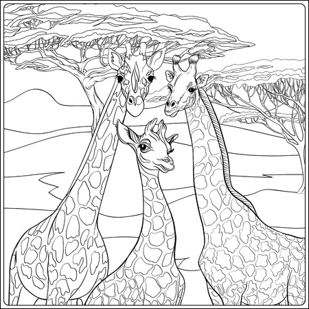 Background with giraffe family. Outline hand drawing. Good for coloring page for the adult coloring book.. Vector Illustration. Иллюстрация