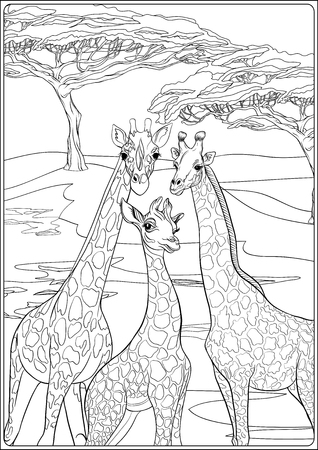 Background with giraffe family. Outline hand drawing. Good for coloring page for the adult coloring book.. Vector Illustration. Ilustração