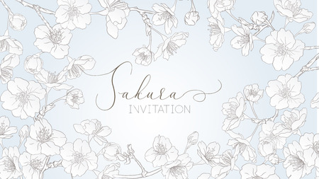Spring background with blossom brunch of sakura flowers in soft blue color. Template with place for text. Stock vector illustration. Good for gift voucher, card, banner.