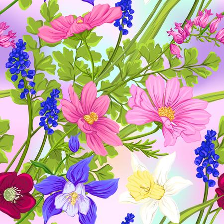 Nahtloses Blumenmuster, Hintergrund mit Frühlingsblumen in hellen ultravioletten Pastellfarben auf Netzrosa, blauem Hintergrund. Vektorillustration ohne Steigungen und Transparenz.