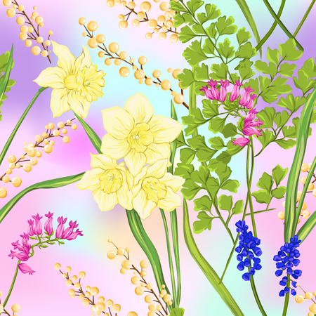 Floral seamless pattern, background with spring flowers.  イラスト・ベクター素材