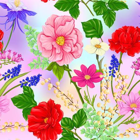 Nahtloses Blumenmuster, Hintergrund mit Frühlingsblumen in hellen ultravioletten Pastellfarben auf Netzrosa, blauer Hintergrund. Vektorillustration ohne Farbverläufe und Transparenz.