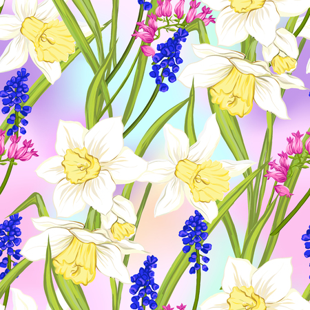 Floral seamless pattern, background with spring flowers in light ultra violet pastel colors on mesh pink, blue background. Vector illustration without gradients and transparency. 写真素材 - 110431131