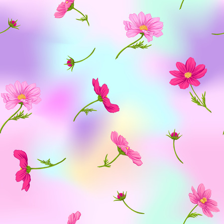 Floral seamless pattern, background with spring flowers in light ultra violet pastel colors on mesh pink, blue background. Vector illustration without gradients and transparency. Vector Illustration