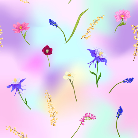 Floral seamless pattern, background with spring flowers in light ultra violet pastel colors on mesh pink, blue background. Vector illustration without gradients and transparency. 写真素材 - 110431135