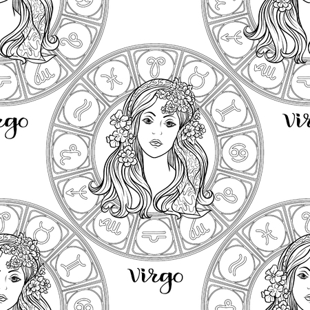 Patrón sin fisuras con símbolos de un horóscopo, signos del zodíaco Ilustración de vector