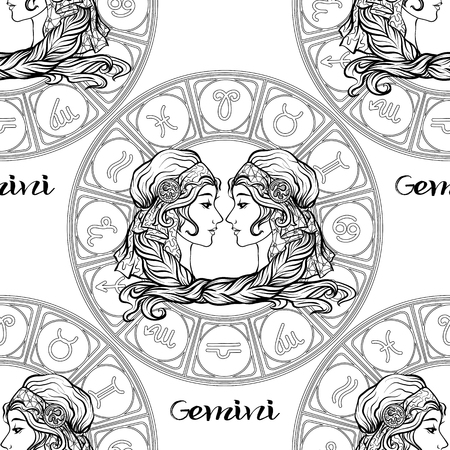 Seamless pattern with symbols of a horoscope, signs of the zodiac Stockfoto - 107698780