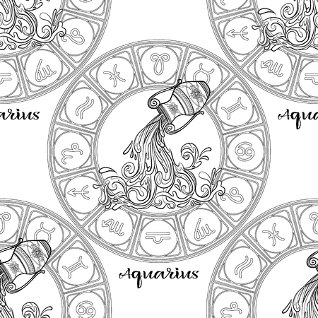 Seamless pattern with symbols of a horoscope, signs of the zodiac