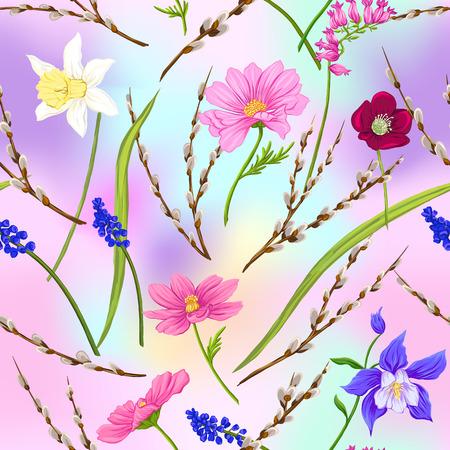 Nahtloses Blumenmuster, Hintergrund mit Frühlingsblumen in hellen ultravioletten Pastellfarben auf Netzrosa, blauer Hintergrund. Vektorillustration ohne Farbverläufe und Transparenz. Vektorgrafik