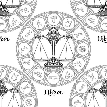 Nahtloses Muster mit Symbolen eines Horoskops, Tierkreiszeichen
