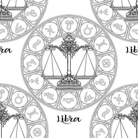 Seamless pattern with symbols of a horoscope, signs of the zodiac Stock fotó - 107698792