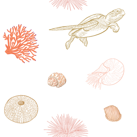 Sea world seamless pattern, background. Stock vector illustration. Ilustracje wektorowe