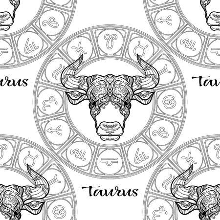 Modèle sans couture avec symboles d'un horoscope, signes du zodiaque