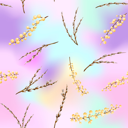 Floral seamless pattern, background with spring flowers in light ultra violet pastel colors on mesh pink, blue background. Vector illustration without gradients and transparency. Stok Fotoğraf - 107442826