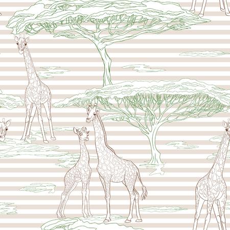 Naadloos patroon met giraf. Vector illustratie.