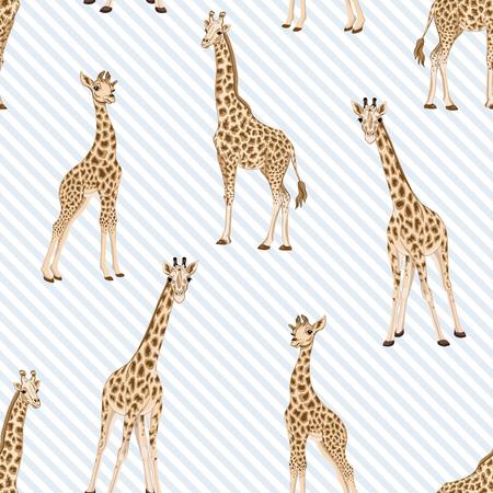 Modèle sans couture avec girafe. Illustration vectorielle.