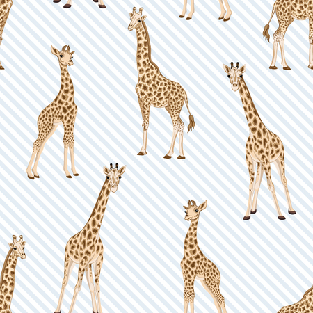 Seamless pattern with giraffe.  Vector illustration. Banque d'images - 107698825