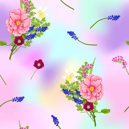 Floral seamless pattern, background with spring flowers in light ultra violet pastel colors on mesh pink, blue background. Vector illustration without gradients and transparency. 写真素材 - 110431151