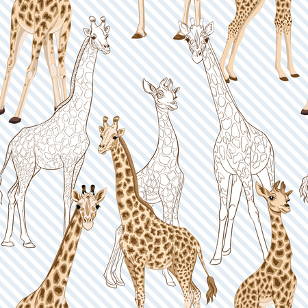 Seamless pattern with giraffe.  Vector illustration.