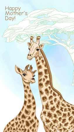 Background with giraffe mother and her child. Good for greeting card for happy mother's Day, for birthday, invitation or banner of safari, zoo or family party. Vector Illustration.